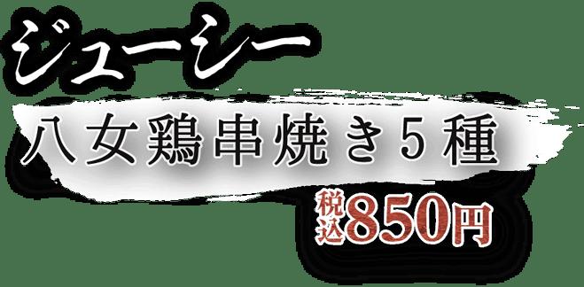ジューシー八女鶏串焼き5種 税込850円